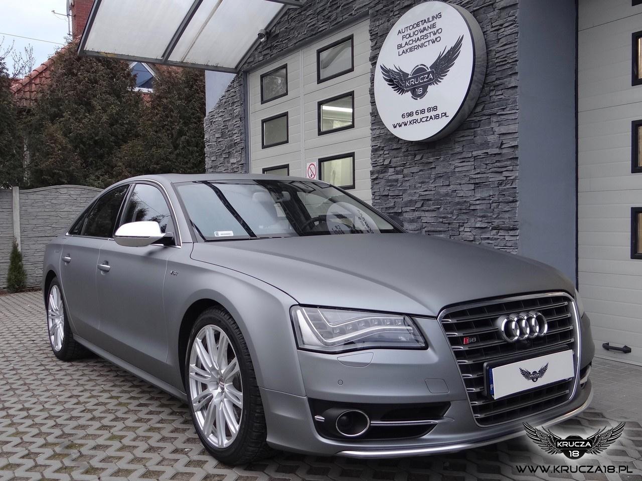 Audi S8 : zmiana koloru auta folią : oklejanie : wrap : frozen gray : Krucza18 : Osielsko/k.Bydgoszczy