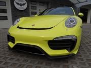 PORSCHE CARRERA S : zmiana koloru auta folią : żółty połysk : Krucza18 : Osielsko/k.Bydgoszczy
