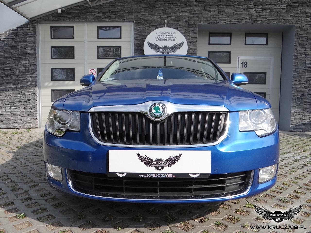 SKODA SUPERB : zmiana koloru auta folia : oklejanie : daytona blue : Krucza18 : Osielsko/k.Bydgoszczy