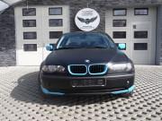 BMW 3 E46 : zmiana koloru auta folią : czarny mat + wstawki błękitny mat : oklejanie : Krucza18 : Osielsko/k.Bydgoszczy