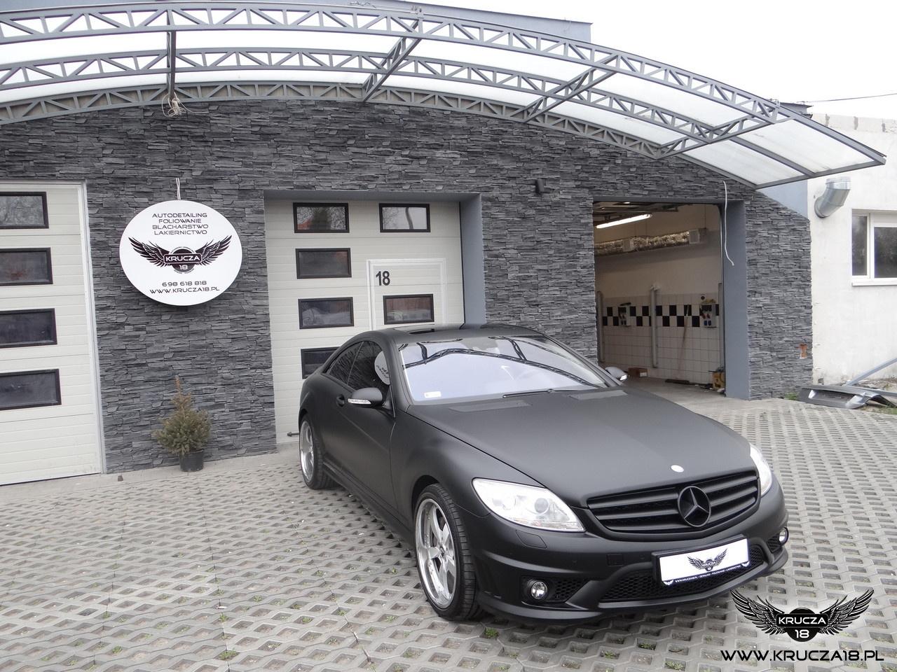 MARCEDES CL : zmiana koloru auta folią : czarny mat + wnętrze carbon + przyciemnione tylne lampy : Krucza18 : Osielsko/k.Bydgoszczy
