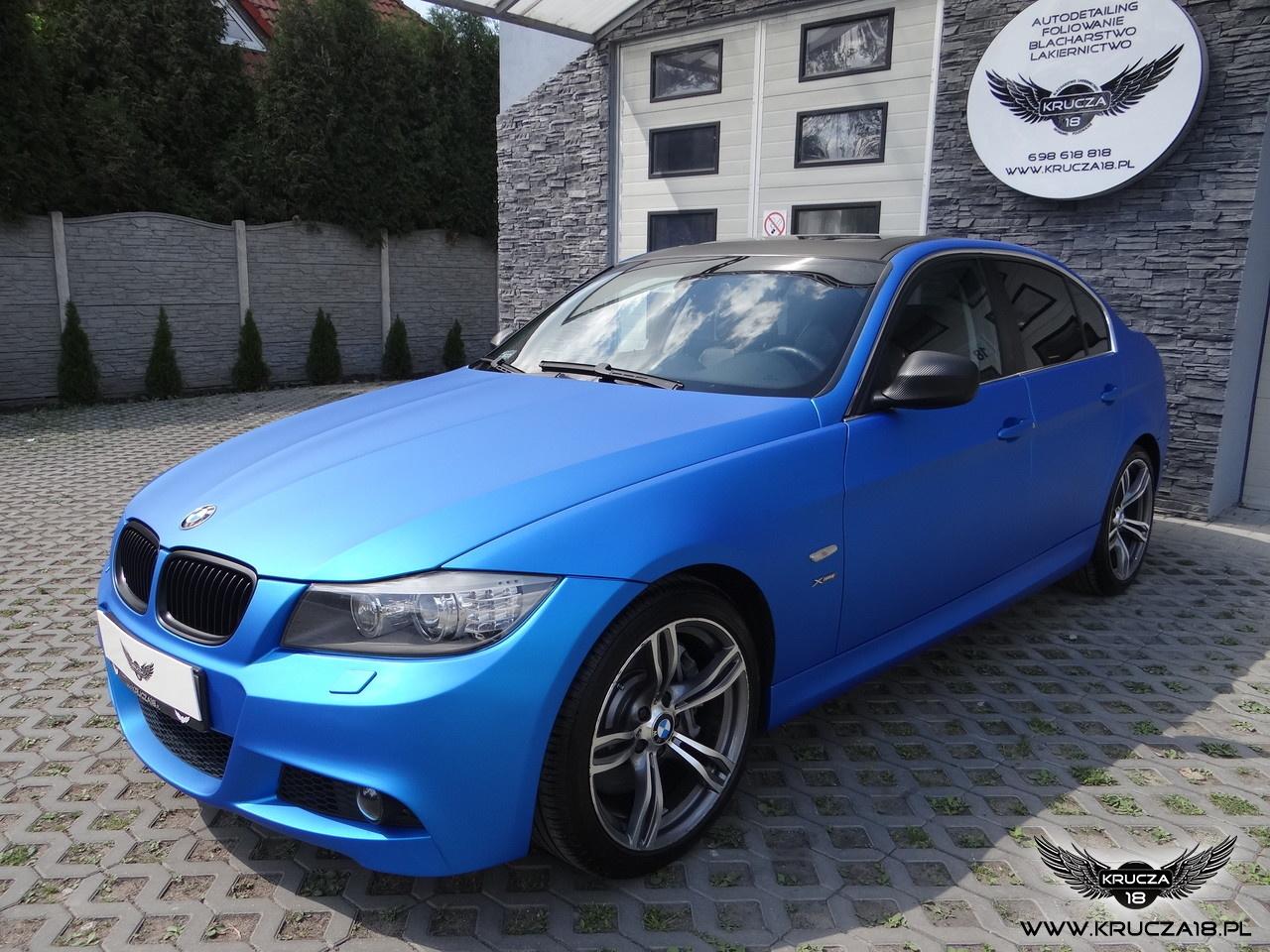 BMW 3 : zmiana koloru auta folią : blue aluminium : oklejanie : Krucza18 : Osielsko : Bydgoszcz