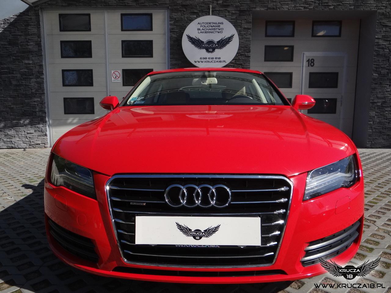 Audi A7 : zmiana koloru auta folią : czerwony połysk : oklejanie : Krucza18 : Osielsko : Bydgoszcz