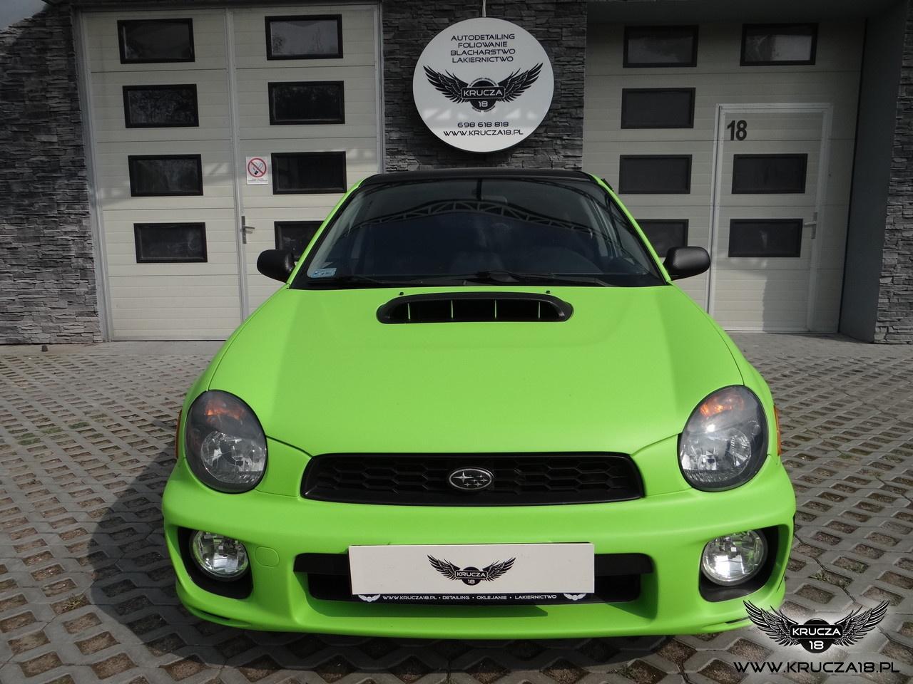SUBARU IMPREZA WRX : zmiana koloru auta folią, oklejanie : Toxic GREEN : Krucza18 : Osielsko : Bydgoszcz