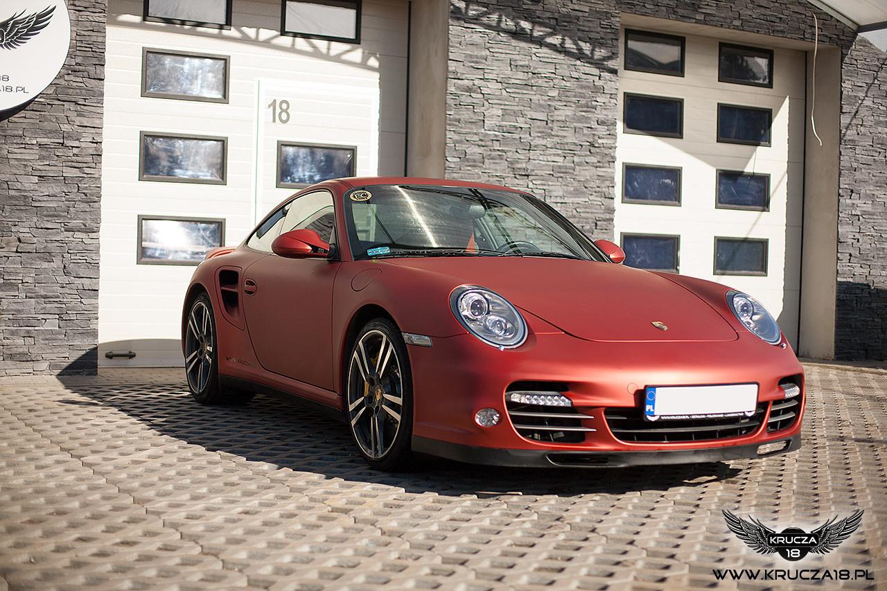 PORSCHE 911 TURBO : zmiana koloru auta folią : red aluminium : oklejanie : Krucza18 : Osielsko/k.Bydgoszczy